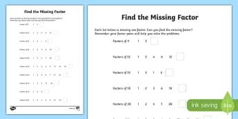 Find the Missing Factor Activity Sheet-Scottish, worksheet
