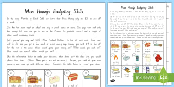 Miss Honey's Budgeting Skills Activity to Support Teaching on Chapter 16 of Matilda - New Zealand Chapter Chat, Chapter Chat NZ, Chapter Chat, Matilda, Roald Dahl, Miss Honey, Chapter Ch