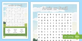 Arais ar Scoil Differentiated Word Search - an scoil, scoil, arais ar scoil, reading, word search, gaelscoileanna, cuardach focal,Irish
