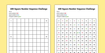 100 Square Number Sequence Challenge - CfE, number sequences, prime numbers, square numbers, triangular numbers, number patterns