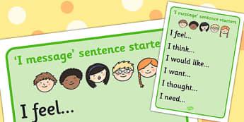 I Messages Sentence Starters - starter, feelings, emotions, feel