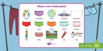 Word Mat Images to Support Teaching on Aliens Love Underpants - aliens, woolly, long johns, space ship, underpants, Claire Freedman, word mat, writing aid, mat, story book, book, book resources, story, bloomers, knickers, frilly, earth, radar, red, w