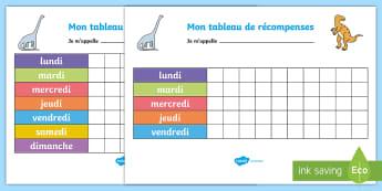 Tableau de récompenses : Les dinosaures - Cycle 1,Histoire, Animaux, Paléontologie, Reptile, Préhistoire,,French