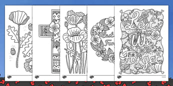 Remembrance Day Themed Mindfulness Colouring Sheets - colouring, pd, fine motor skills, well being, stress, relax, unwind, early years, ks1, ks2, art, home learning, display, war, first world war, second world war, past, history