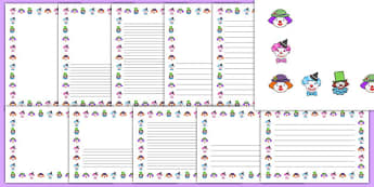 Clown Themed Page Borders - clown, page borders, page, borders, circus