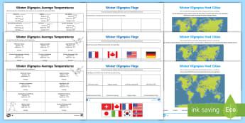 Winter Olympics Geography Project Activity Pack  - Y3, Y4, Y5, Y6, Map, Temperature, Flag, atlas worksheets,