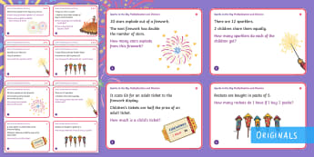 KS1 Sparks in the Sky Multiplication and Division Differentiated Challenge Cards - bonfire night, guy fawkes, fireworks, maths, story, calculations, year 2, y2