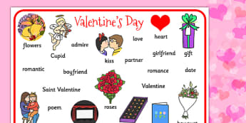 Valentines Day Word Mat - valentines, cupid, love, keywords, mat