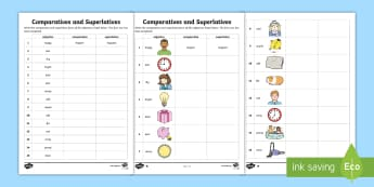 Comparatives and Superlatives Worksheet - comparative, sheet