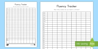 Fluency Data Tracker - Reading, Reading Skills, Timed Reading, Comprehension, Data tracker, Student Data, Words per minute,