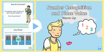* NEW * Year 1 Number Recognition and Place Value Maths Warm-Up PowerPoint - maths, KS1, number, place value, more than, less than, equals, equal to, greater than, counting, cou