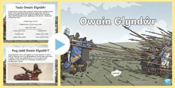 Owain Glyndwr Pŵerbwynt - Wynebau Enwog Cymru, Enwog, Wynebau Cymru, Hanes. Hedd Wyn, poet, bard, Rhyfel Byd Cyntaf Trawsfynyd