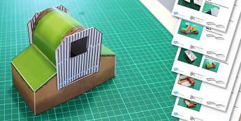 Anderson Shelter Paper Model Diorama - anderson shelter, paper model