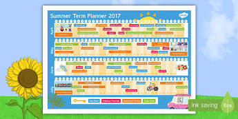 Summer Term 2017 Calendar Planner - events, dates, calendar, planner, planning, topical