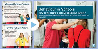 The Behaviour Report: A Summary PowerPoint - KS3/4 Pastoral Support Material, behaviour, Tom Bennett, inset,