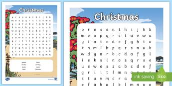 Christmas Wordfind Activity -  Word Search,Festive, Santa, reindeer, Tinsel, present, Bauble, Stocking, cracker, Present