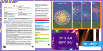 EYFS Sparks in the Sky Outdoor Firework Paintings Adult Input Plan and Resource Pack - Twinkl originals, fiction, Gross motor Skills, circles, Lines, Draw, Paint, Bonfire Night, Moving an