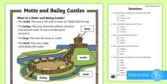 KS1 Motte and Bailey Differentiated Comprehension Go Respond Worksheet / Activity Sheets - KS1, history, Motte, Bailey, castle, defend, stone, wood, soldier, barracks, store, room, Norman, in