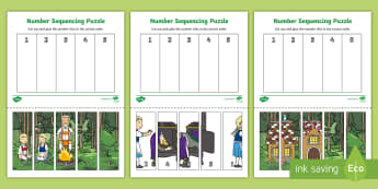 Hansel and Gretel Number Sequencing Puzzle - sequencing, puzzle