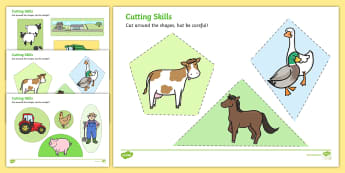 Farm-Themed Cutting Skills Worksheets - cut, fine motor skills