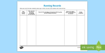 Running Records Young People & Families Case File Recording Template - Young People & Families Case File Recording, referral, chronology, contents page,buddy system, safeg