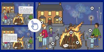 * NOUVEAU * Image à zones intéractives : Bonfire Night - Anglais LV, Langue Vivante, Histoire, Culture, Guy Fawkes, 5 Novembre, Bonfire, Cycle 2, Cycle 3