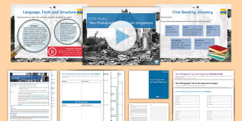 GCSE Poetry Lesson Pack to Support Teaching on 'War Photographer' by Carole Satyamurti - GCSE Poetry, Edexcel Poetry Anthology, Conflict, poetry analysis, poetry comparison.