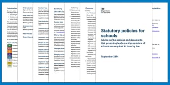 Statutory policies for schools Adult Guidance - Policy, statutory guidance, advice, governors, SLT, governing body, requirements, legal