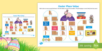 Year 1 Easter Base 10 Place Value Board Game - Australia Easter Maths, easter, australia, mathematics, place value, number, Year 1, KS1, MAB's, te
