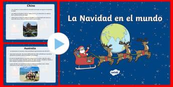 Presentación: La Navidad en el mundo - Navidad, navidad en el mundo, navidad en otros países, celebraciones de navidad, navidad, español