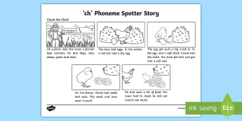 'ch' Phoneme Spotter Story - Fluency, Blending, Digraph, Phonetic, Sight Words,