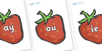 Phase 5 Phonemes on Strawberries - Phonemes, phoneme, Phase 5, Phase five, Foundation, Literacy, Letters and Sounds, DfES, display