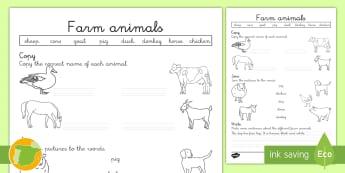 A1 Ficha de actividad: Los animales de la granja en inglés - Inglés - farm, animals, dog, cat, cow, lengua extranjera, english, ,Spanish-translation