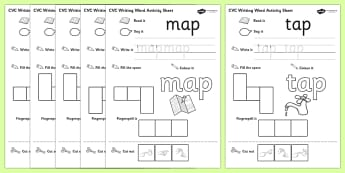 CVC Writing Word Worksheet / Activity Sheet Pack 'a' with British Sign Language, worksheet