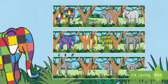Display Borders to Support Teaching on Elmer - Elmer, Elmer the elephant, resources, Elmer story, patchwork elephant, PSHE, PSE, David McKee, colours, patterns, story, story book, story book resources, story sequencing, story resources, Dis