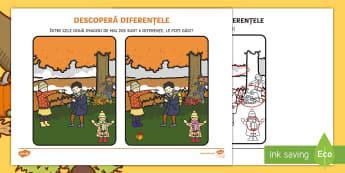 Toamna: Descoperă diferențele Activitate - activități de toamnă, lucrări de toamnă, observație, atenție,Romanian