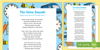 The Voice Sounds Song - EYFS, Phase 1, Aspect 6, sound effect, letters and sounds, phonics, speech development, speech and l