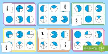 Fraction Bingo - bingo, fraction, maths, maths bingo, activity