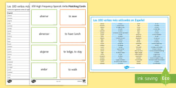 100 High Frequency Verbs Spanish  Activity Pack - Spanish Grammar, GCSE, Spanish verbs, 100, high frequency, activity sheet, translation, worksheet, v