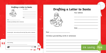Drafting a Letter to Santa Activity Sheet - Christmas, Nativity, Jesus, xmas, Xmas, Father Christmas, Santa, St Nic, Saint Nicholas, traditions,