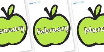 Months of the Year on Apples - Months of the Year, Months poster, Months display, display, poster, frieze, Months, month, January, February, March, April, May, June, July, August, September