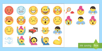 Emoji Faces Cut-Outs - Emoticons, Emotions, Expressions, Mood, Pictures, Decoration, Smiley
