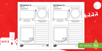 Comparing Christmas Around the World Writing Frames English/Portuguese  - christmas, writing, information, facts, research, eal