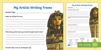 Discovering Tutankhamuns Tomb Writing Frame - writing frame, tomb