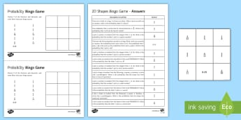 Probability Bingo - probability, single event, bingo, prime numbers, cube numbers.