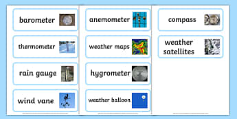 Weather Instrument Word Cards - weather instruments, weather, weather meters, weather meter word cards, weather instument names, weather word cards, ks2