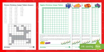 Christmas Jumper Pattern Shader Activity Sheets - algebra, Number, Ratio, Substitution, Gradient, Intercept, Equation, Multiples, Factors, Division, P