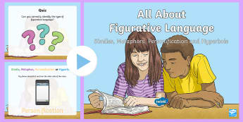 Understanding Figurative Language PowerPoint - similes, literacy, english, metaphors, hyperbole, personification