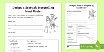Design a Scottish Storytelling Event Poster CfE Second Level Activity Sheet - drama, advertise, art, story, festival, performance,,Scottish, worksheet