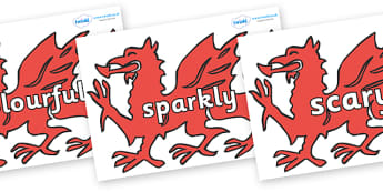 Wow Words on Welsh Dragons - Wow words, adjectives, VCOP, describing, Wow, display, poster, wow display, tasty, scary, ugly, beautiful, colourful sharp, bouncy